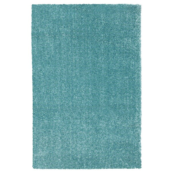 LANGSTED Rug, low pile, turquoise, 60x90 cm