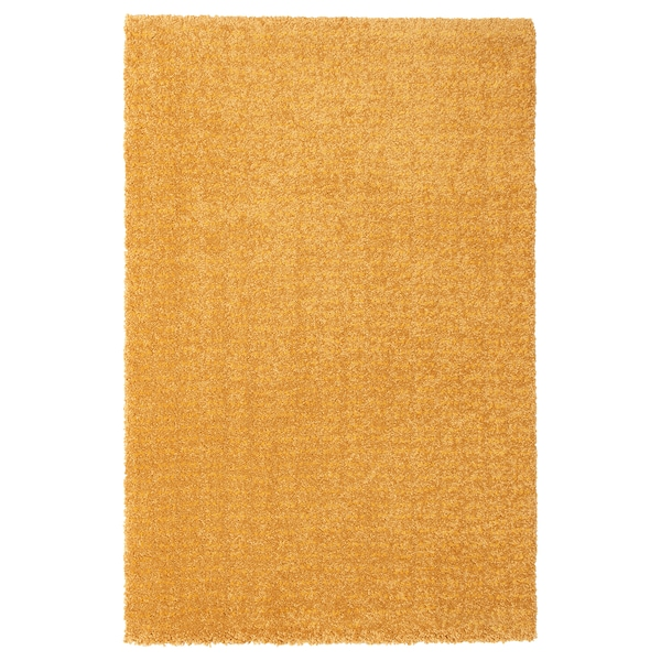 LANGSTED Rug, low pile, yellow, 60x90 cm