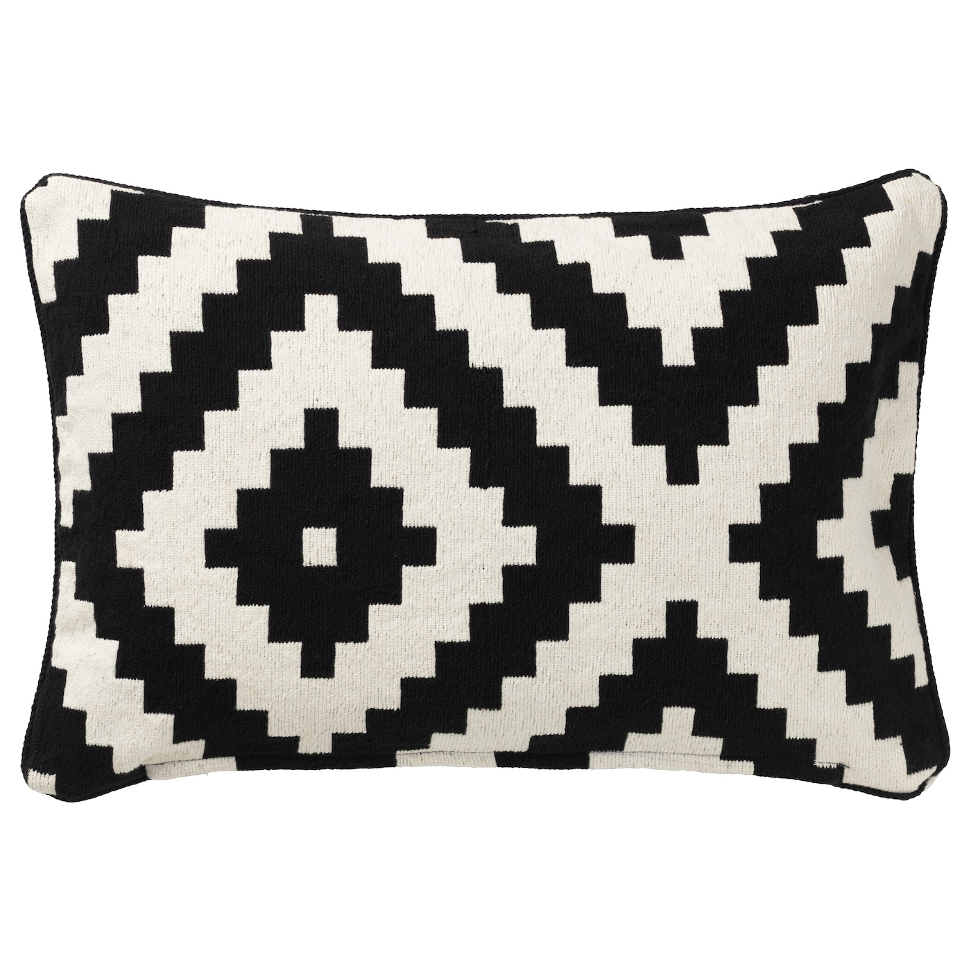 lappljung ruta cushion cover white black 40x65 cm ikea. Black Bedroom Furniture Sets. Home Design Ideas