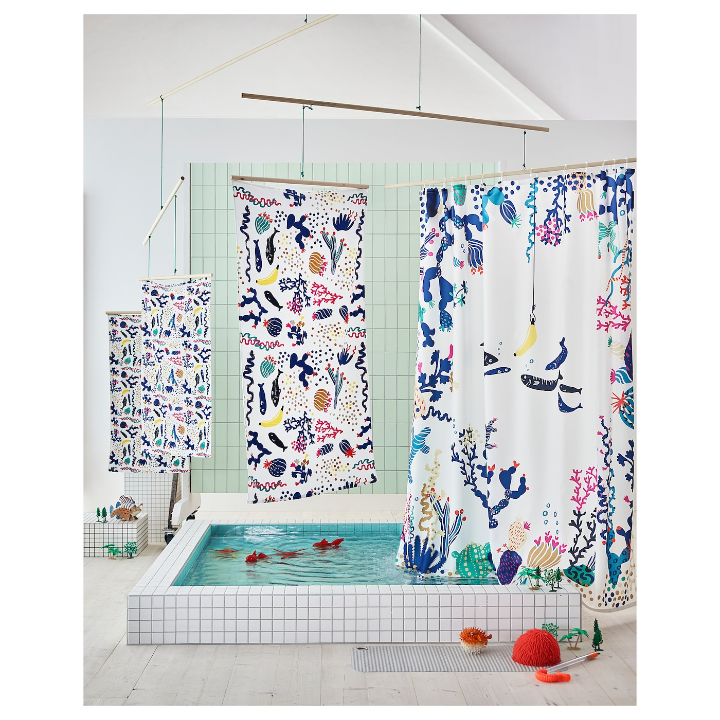 IKEA LASJÖN shower curtain Densely-woven polyester fabric with water-repellent coating.