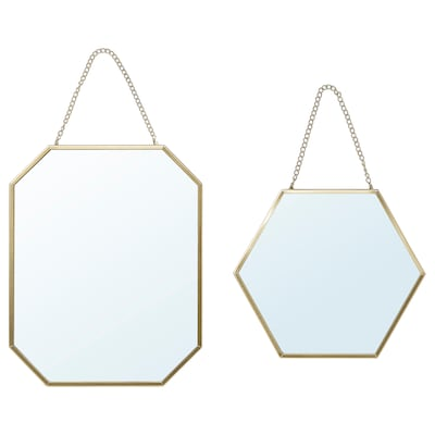 LASSBYN mirror, set of 2 gold-colour