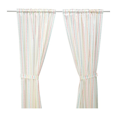IKEA LATTJO curtains with tie-backs, 1 pair