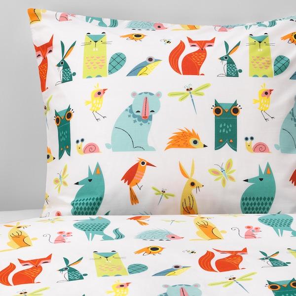 LATTJO Quilt cover and pillowcase, animal/multicolour, 150x200/50x80 cm