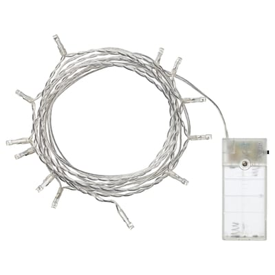 LEDFYR LED lighting chain with 12 lights, indoor/battery-operated silver-colour