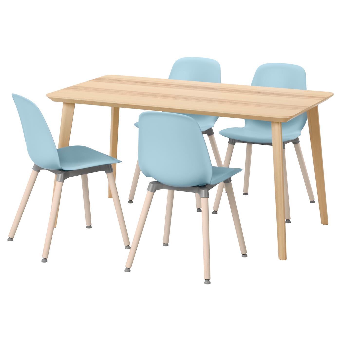 Leifarne lisabo table and 4 chairs ash veneer light blue for Table chaise ikea