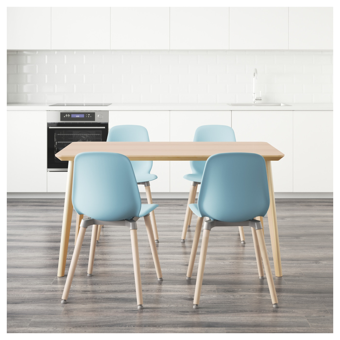 leifarne lisabo table and 4 chairs ash veneer light blue 140 x 78 cm ikea. Black Bedroom Furniture Sets. Home Design Ideas