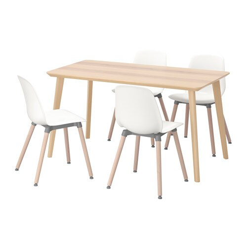 IKEA LEIFARNE/LISABO table and 4 chairs Easy to assemble as each leg has only one fitting.