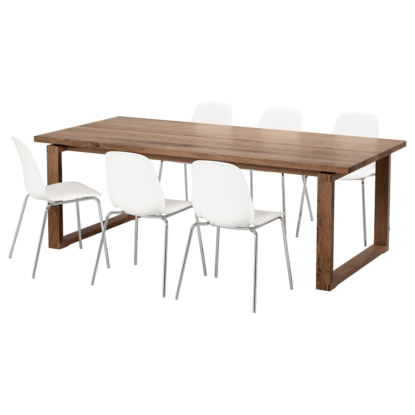LEIFARNE M RBYL NGA Table And 6 Chairs Brown White 220x100 Cm IKEA