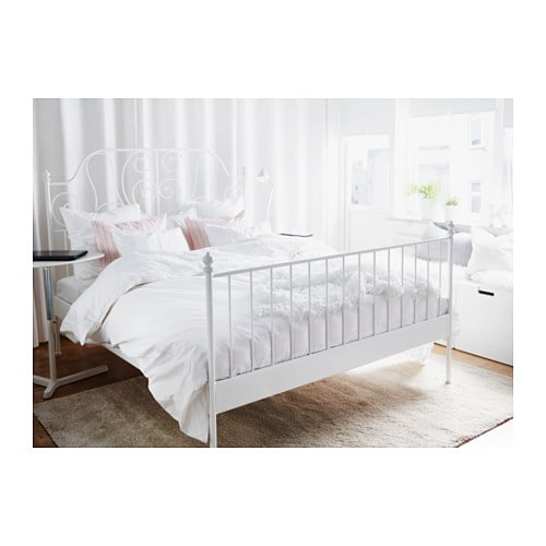 Ikea White Queen Bed country chic white queen size bed frame Leirvik Bed Frame Whitelury Standard Double Ikea