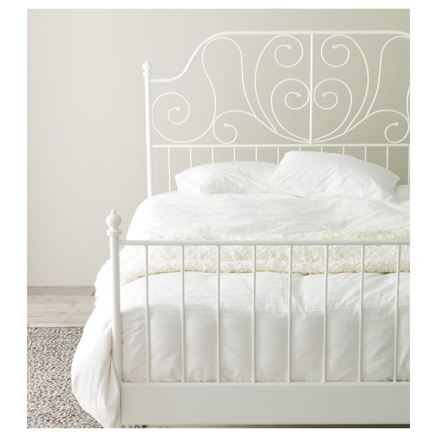 Leirvik bed frame white lur y standard double ikea for Ikea mattress frame