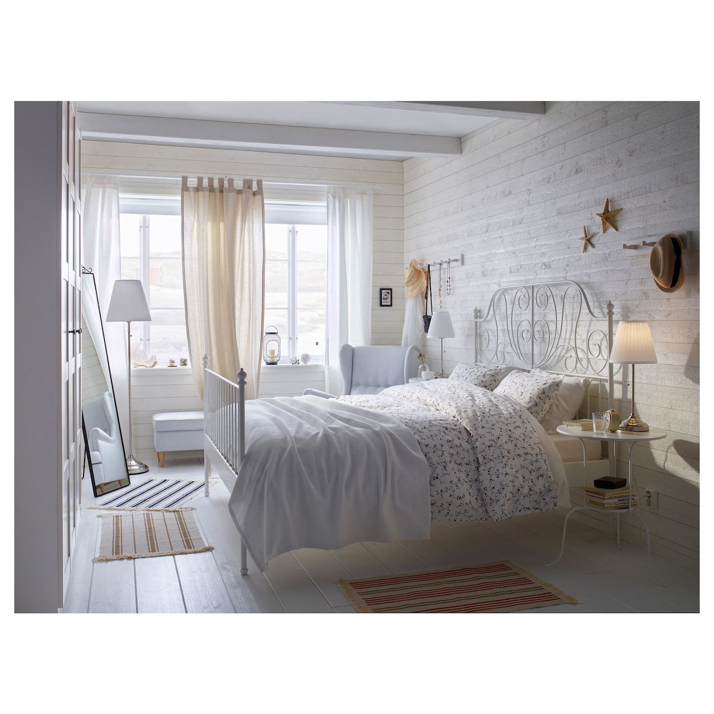 Leirvik Bed Frame White Lur Y Double