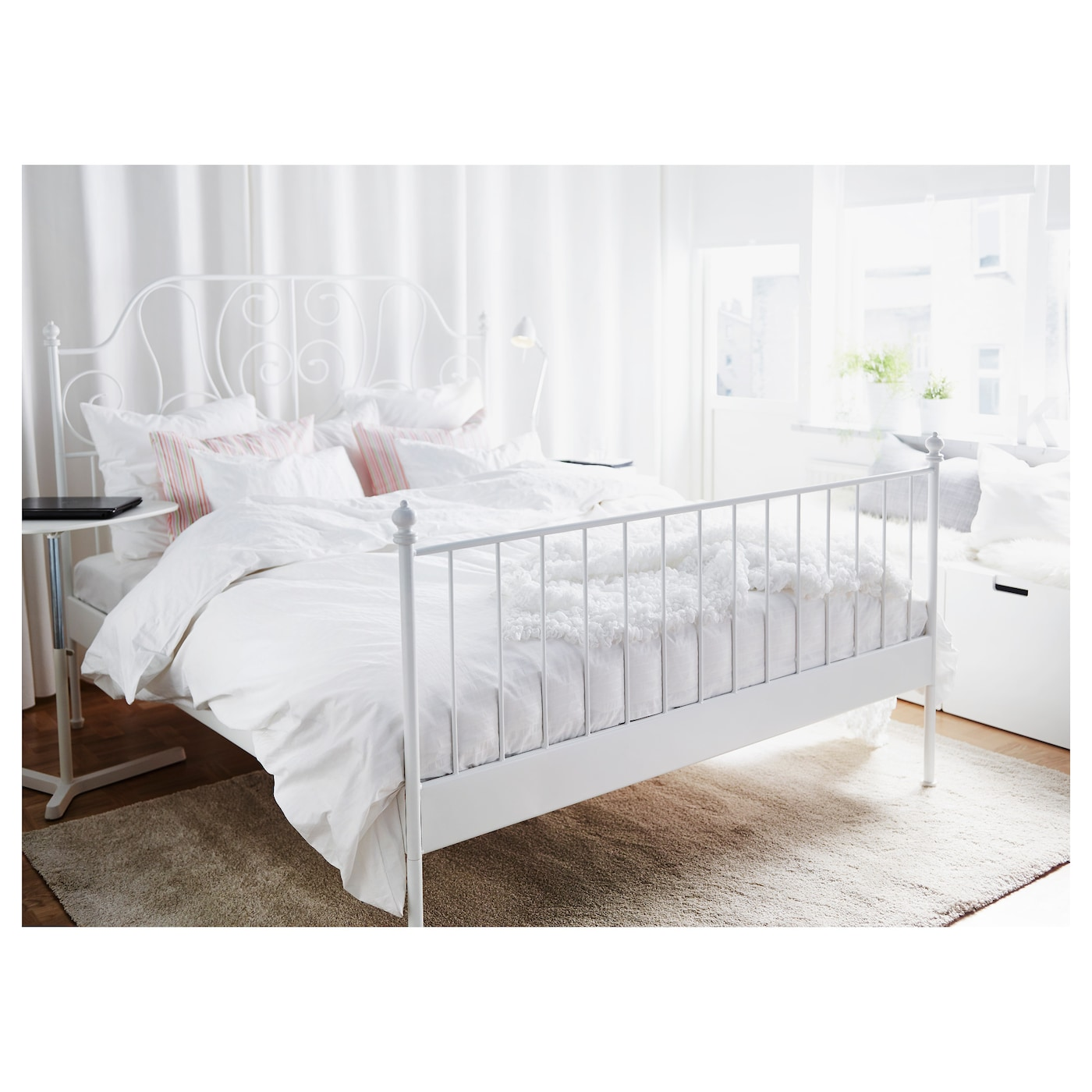 Leirvik bed frame white lur y standard double ikea for Queen size bed ikea