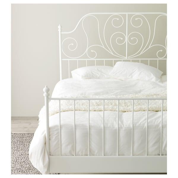 LEIRVIK Bed frame, white/Luröy, Standard Double