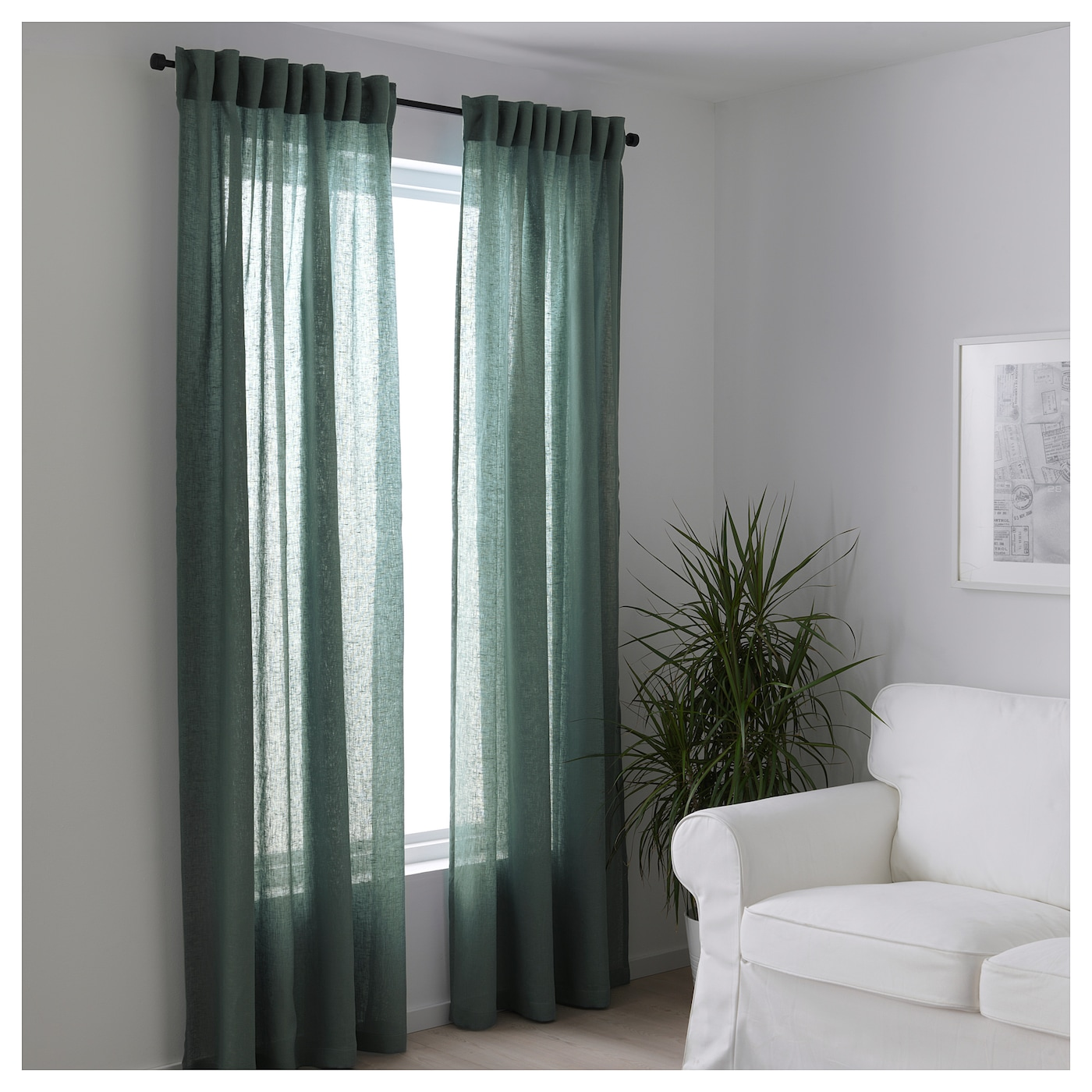 Lejongap curtains 1 pair green 145x250 cm ikea for Track curtains ikea