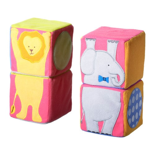 LEKA CIRKUS Building blocks, multicolour Length: 10 cm Width: 10 cm Height: 10 cm Package quantity: 4 pack