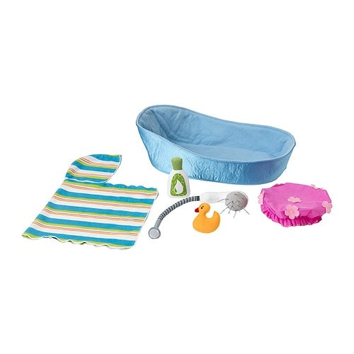 LEKKAMRAT Bathtub for doll with accessories IKEA Perfect for bathing your child's favourite LEKKAMRAT doll.  Encourages make-believe play.