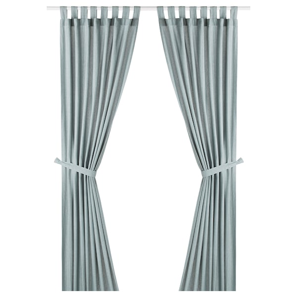 LENDA Curtains with tie-backs, 1 pair, grey-turquoise, 140x250 cm