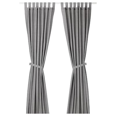 LENDA Curtains with tie-backs, 1 pair, grey, 140x250 cm