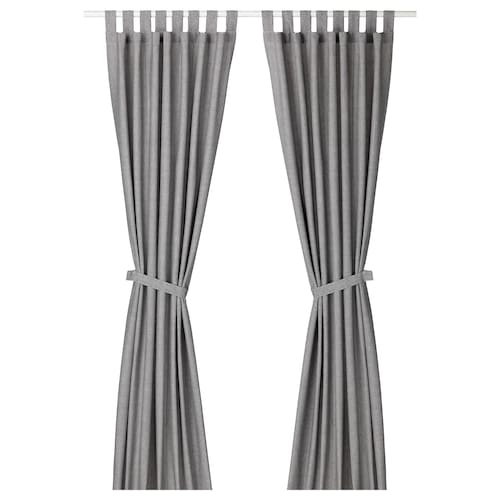 Lenda Grey Curtains With Tie Backs 1