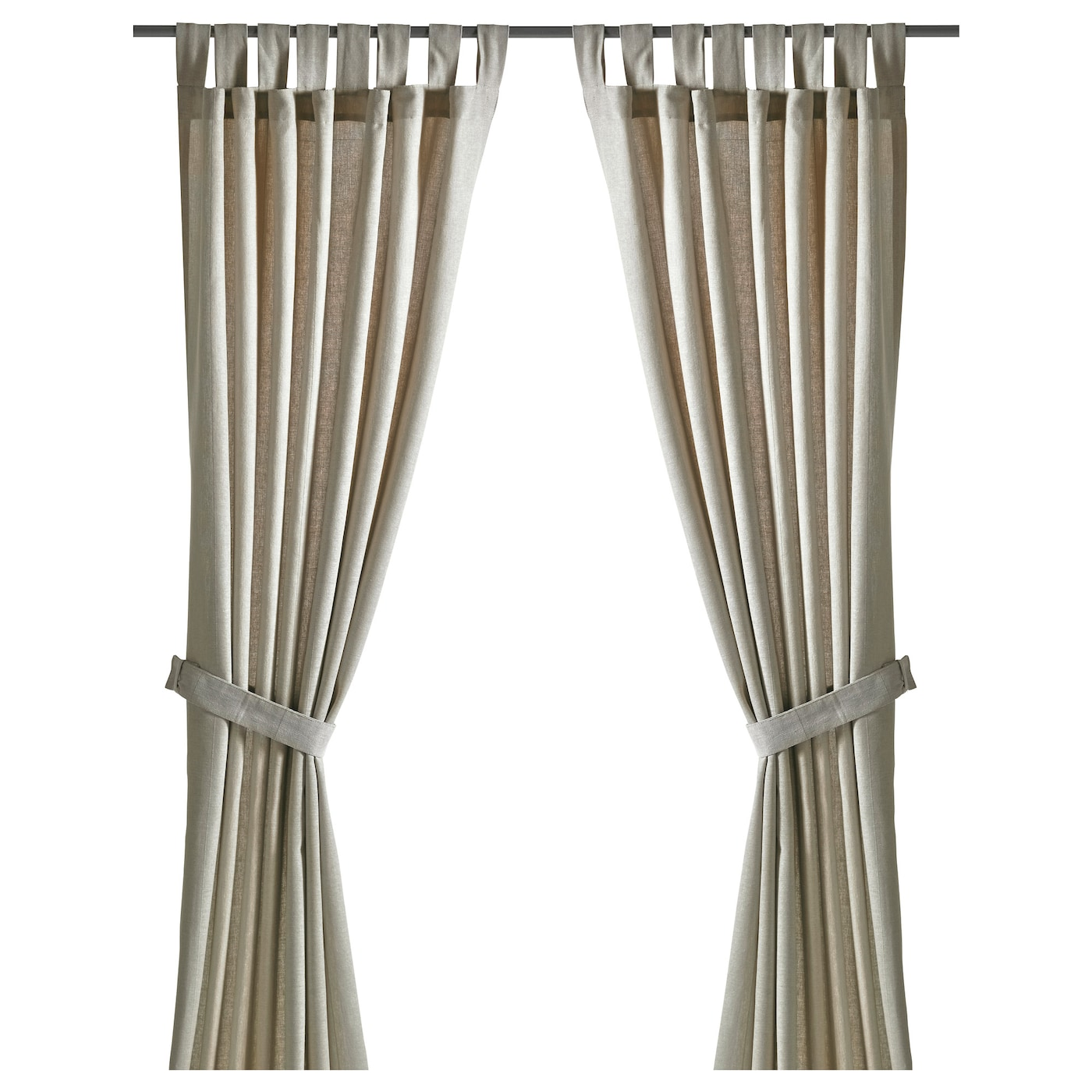 Drape Ties: LENDA Curtains With Tie-backs, 1 Pair Light Beige 140 X