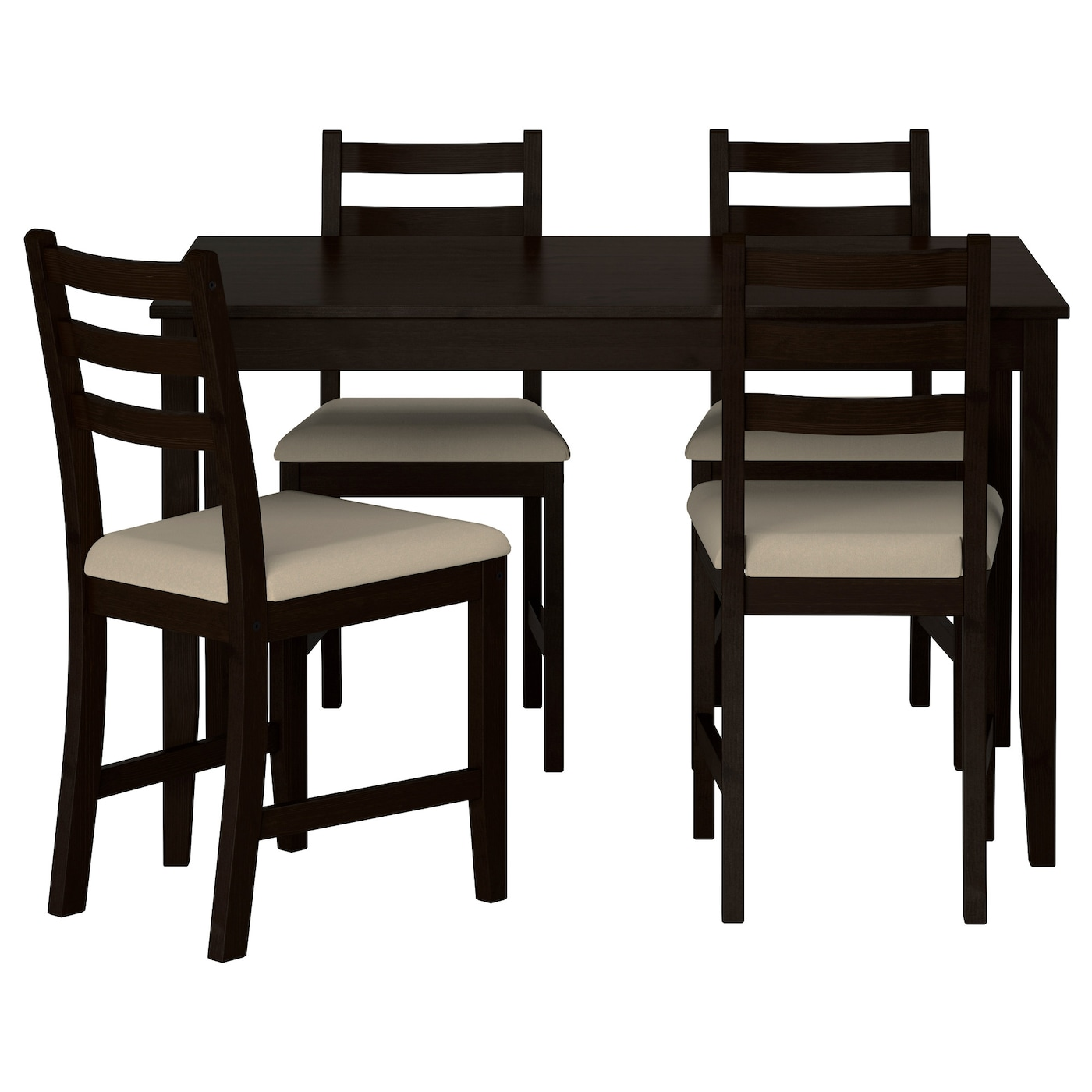 Lerhamn table and 4 chairs black brown ramna beige 118x74 for Black dining table set