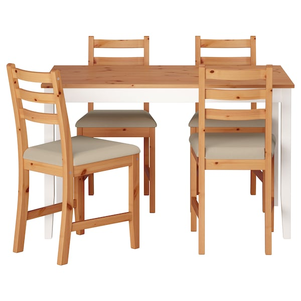 LERHAMN Table and 4 chairs, light antique stain white stain/Vittaryd beige, 118x74 cm