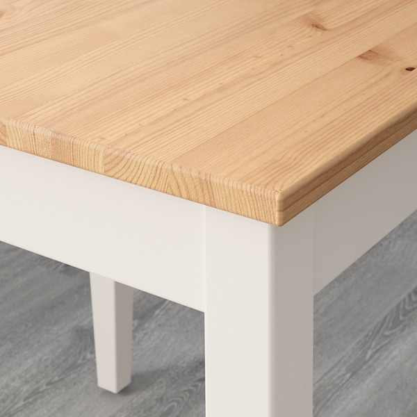 LERHAMN Table, light antique stain/white stain, 74x74 cm