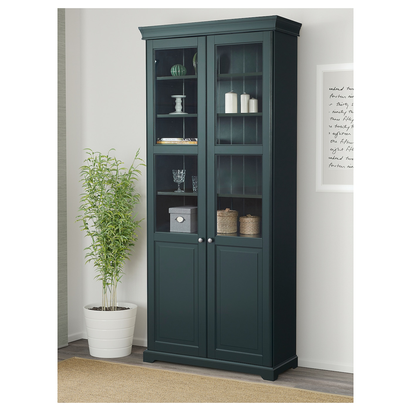liatorp bookcase with glass doors dark olive green 96 x 214 cm ikea. Black Bedroom Furniture Sets. Home Design Ideas
