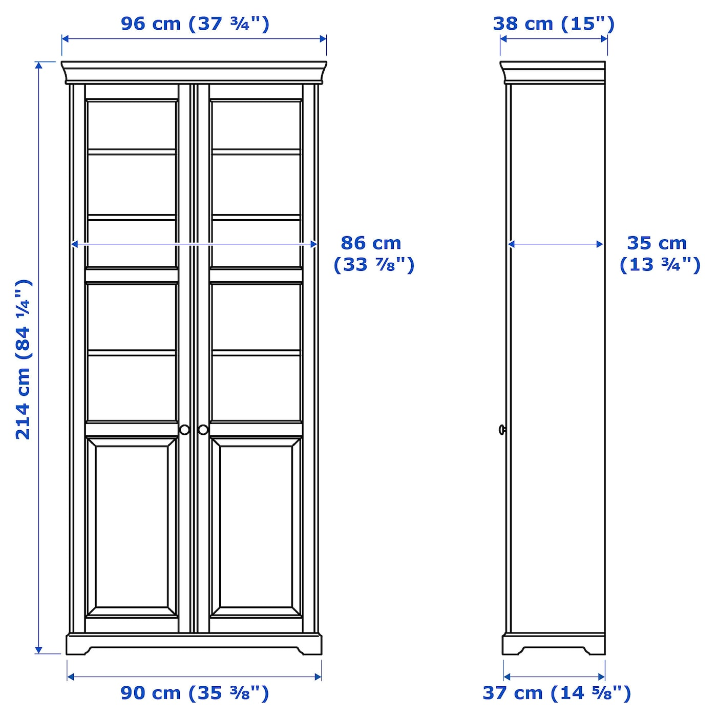 IKEA LIATORP bookcase with glass-doors 2 fixed shelves provide increased stability.