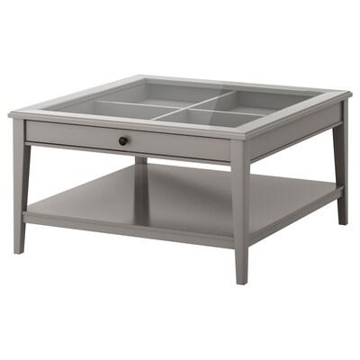 LIATORP Coffee table, grey/glass, 93x93 cm
