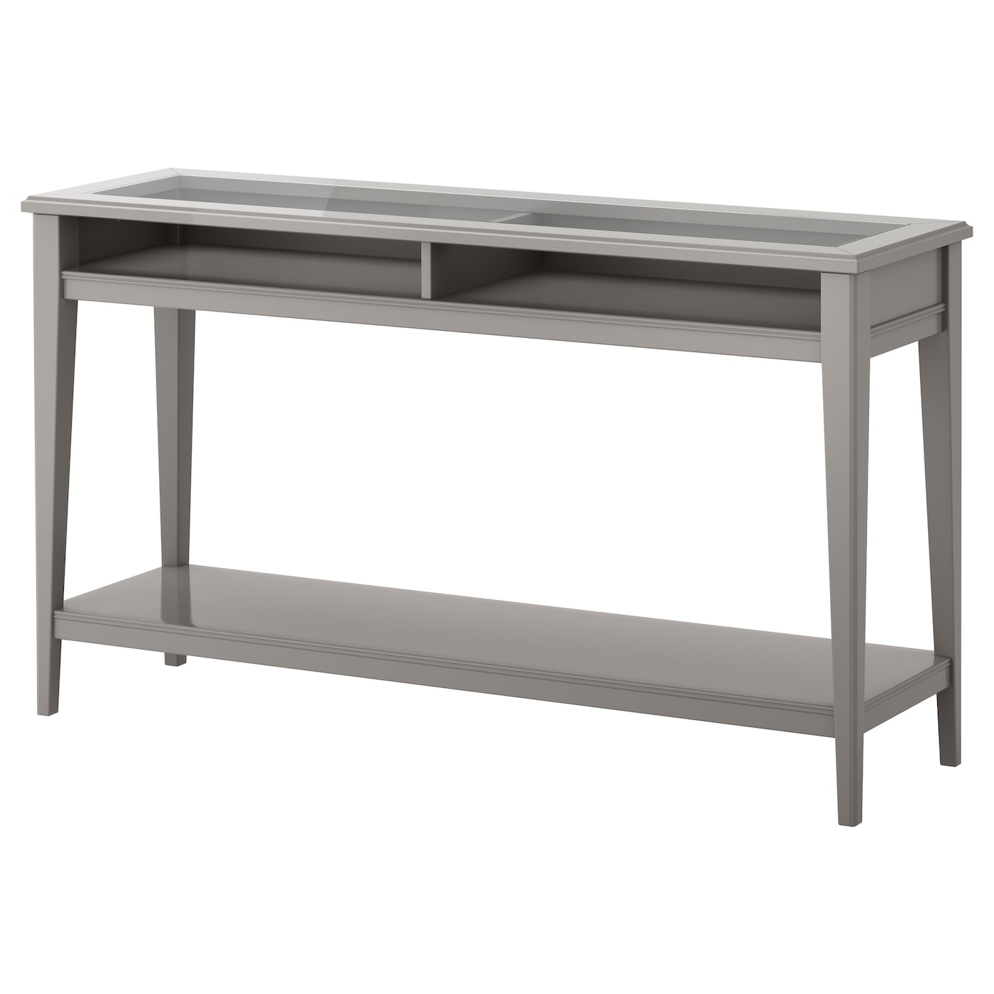 Liatorp console table grey glass 133x37 cm ikea for Console meuble ikea