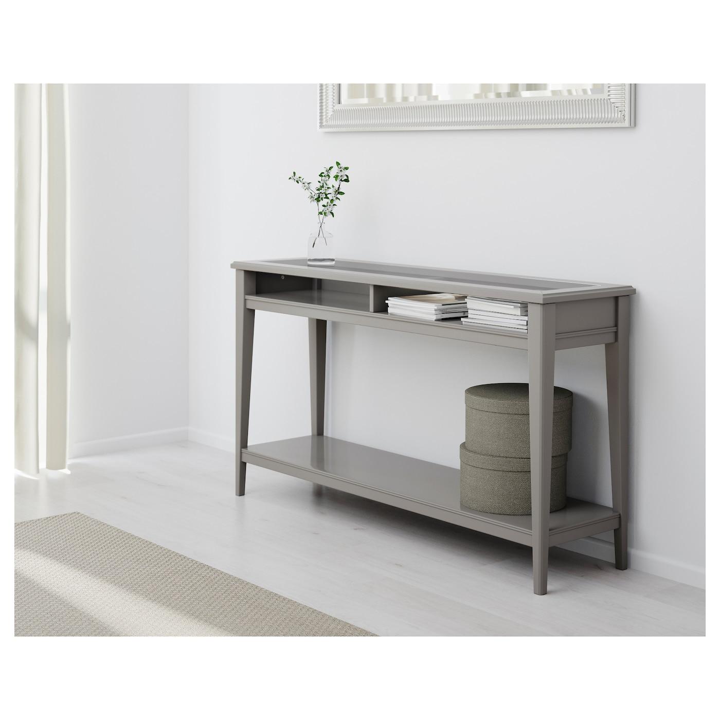 LIATORP Console table Grey glass 133×37 cm IKEA
