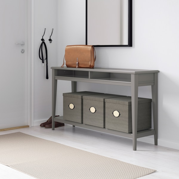 LIATORP Console table, grey/glass, 133x37 cm