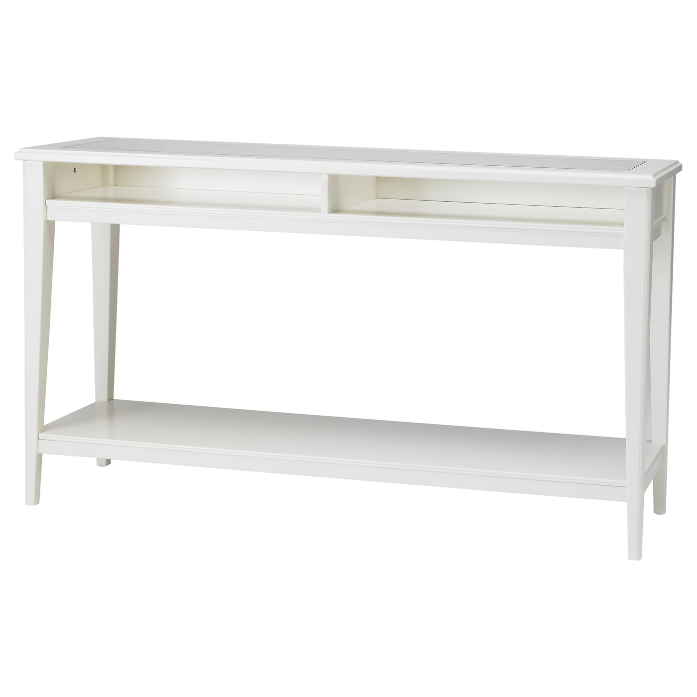 Liatorp console table white glass 133x37 cm ikea for Table et chaise integree