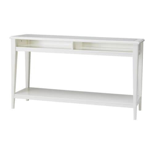 Liatorp console table white glass ikea for Table verre ikea
