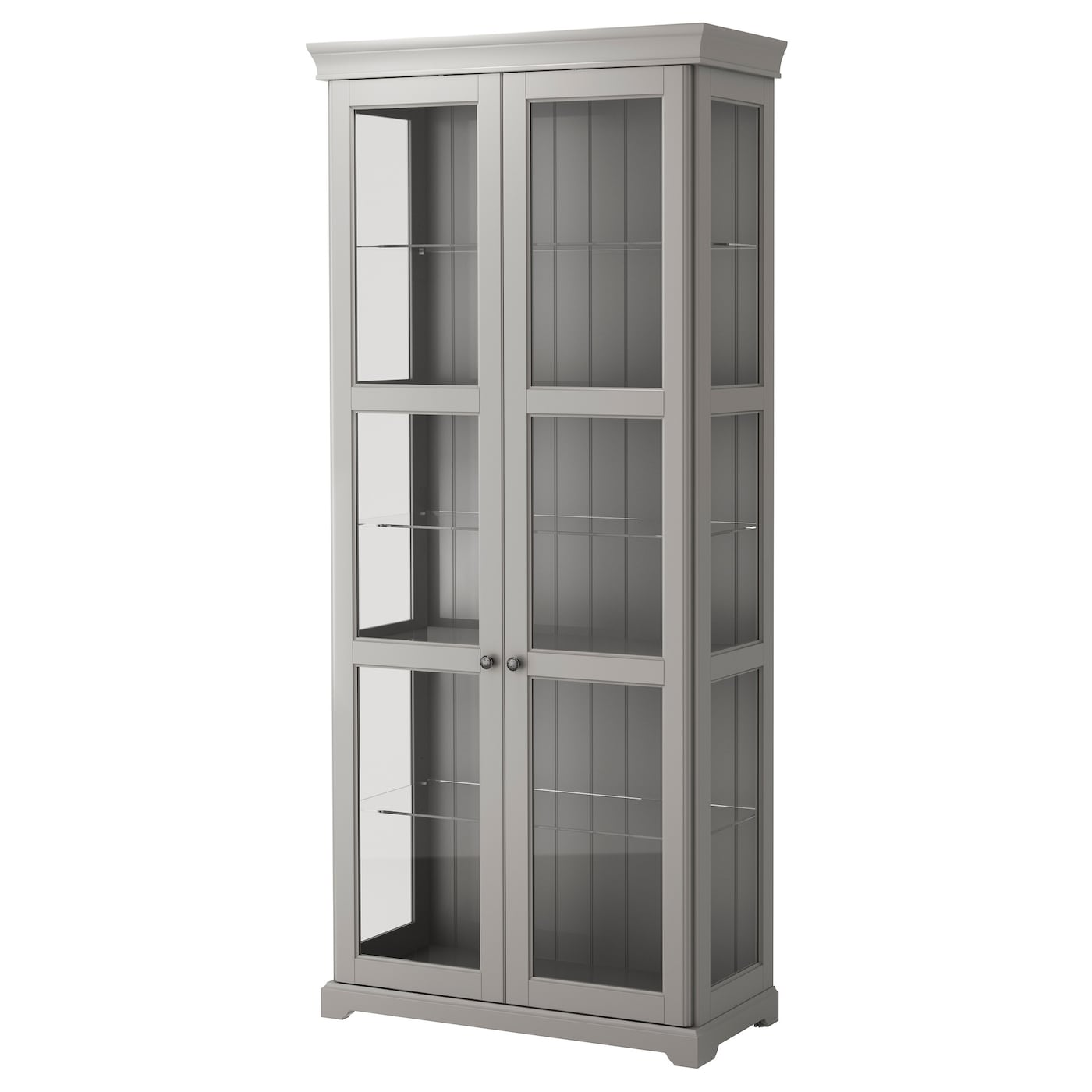 LIATORP Glass-door cabinet Grey 96x214 cm - IKEA