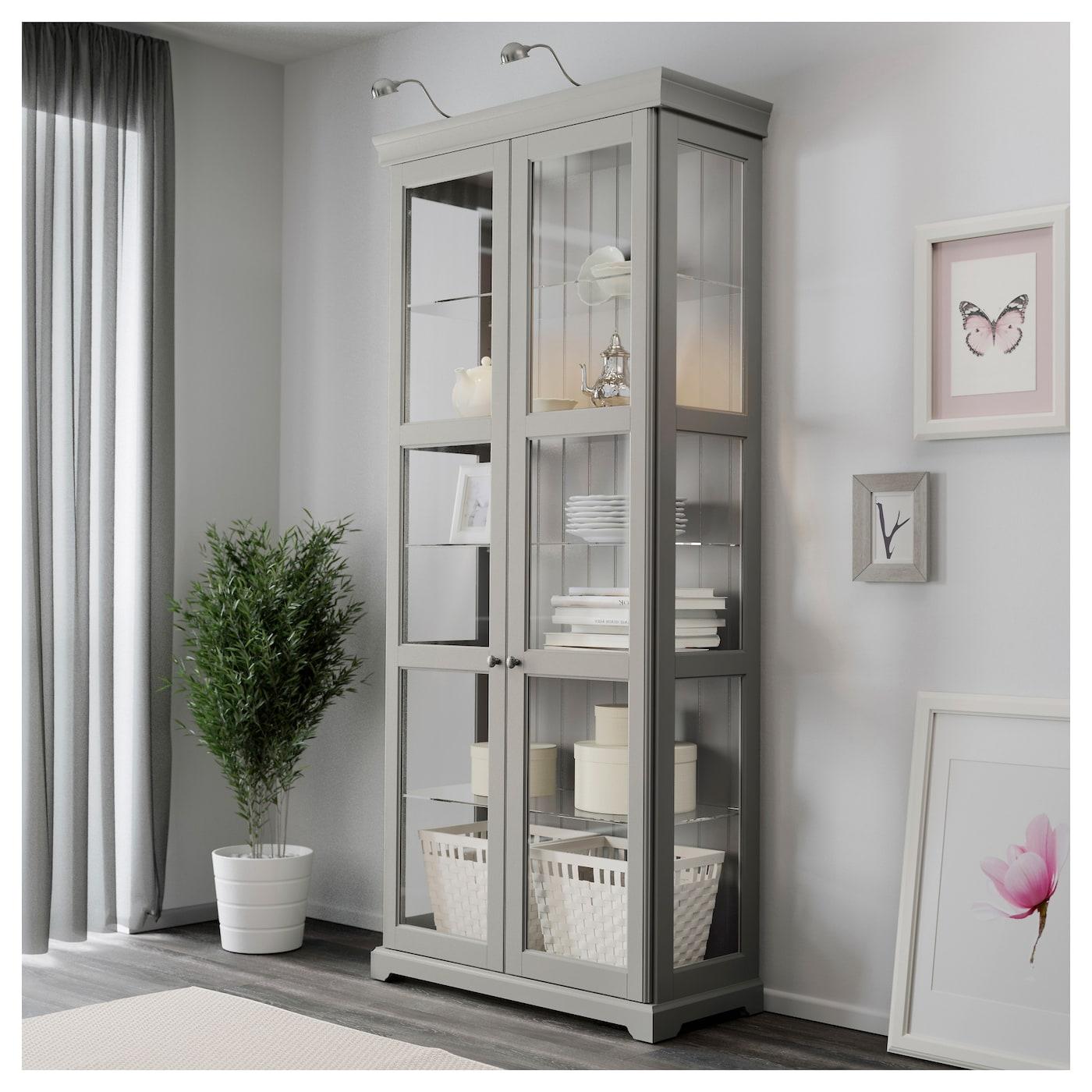 liatorp glass door cabinet grey 96 x 214 cm ikea. Black Bedroom Furniture Sets. Home Design Ideas