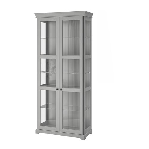 liatorp glass door cabinet grey 96 x 214 cm ikea. Black Bedroom Furniture Sets. Home Design Ideas