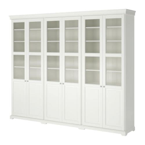 IKEA LIATORP storage combination with doors 2 fixed shelves provide increased stability.