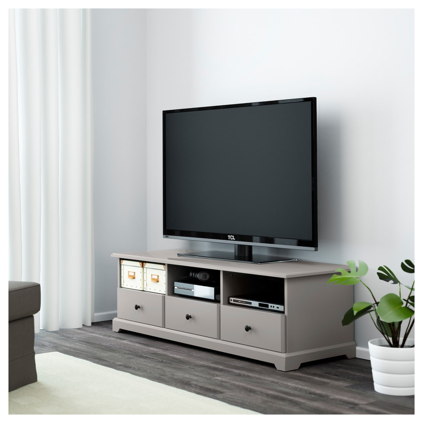 Liatorp tv bench grey 145x49x45 cm ikea for Meuble console ikea
