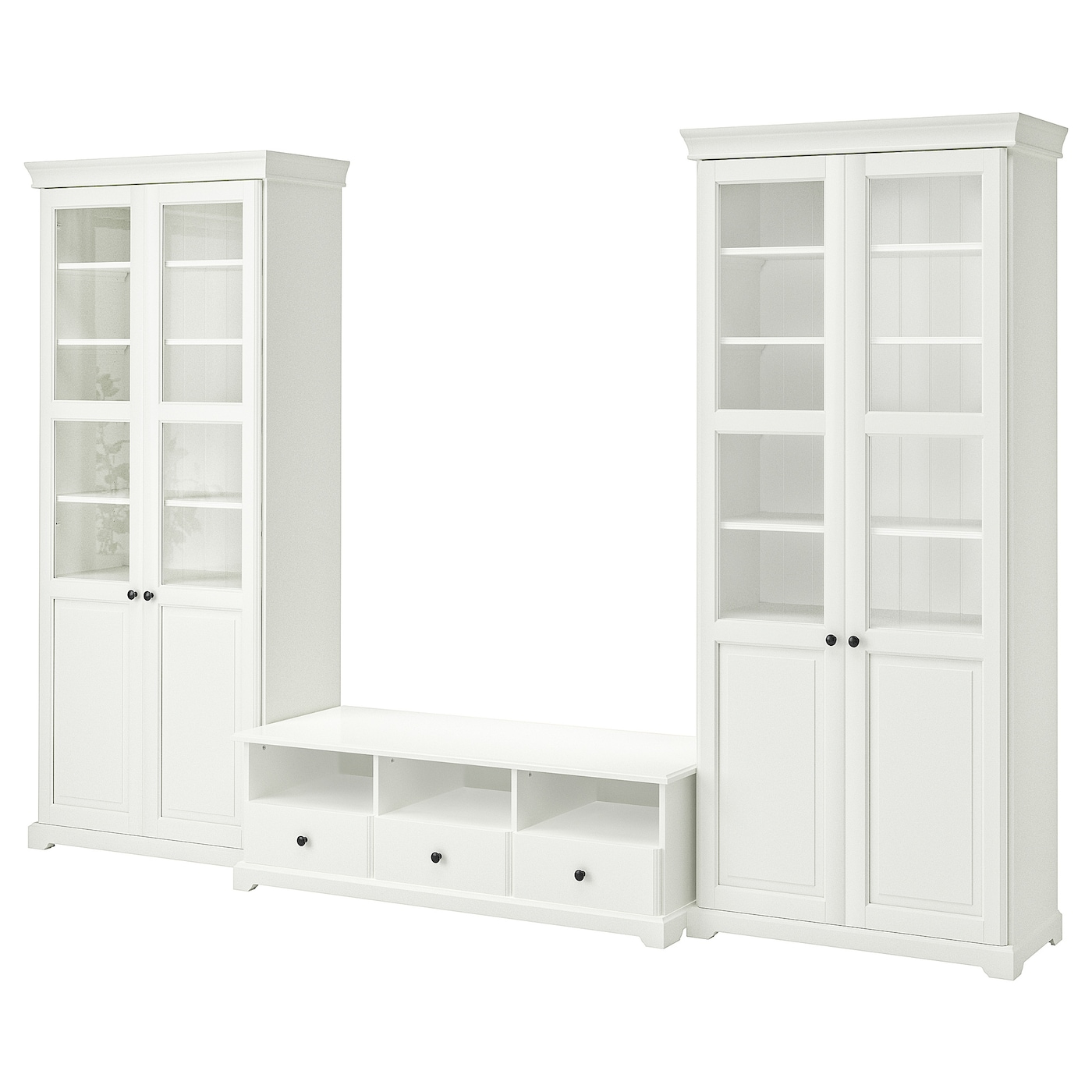 IKEA LIATORP TV storage combination Adjustable feet; stands steady also on an uneven floor.