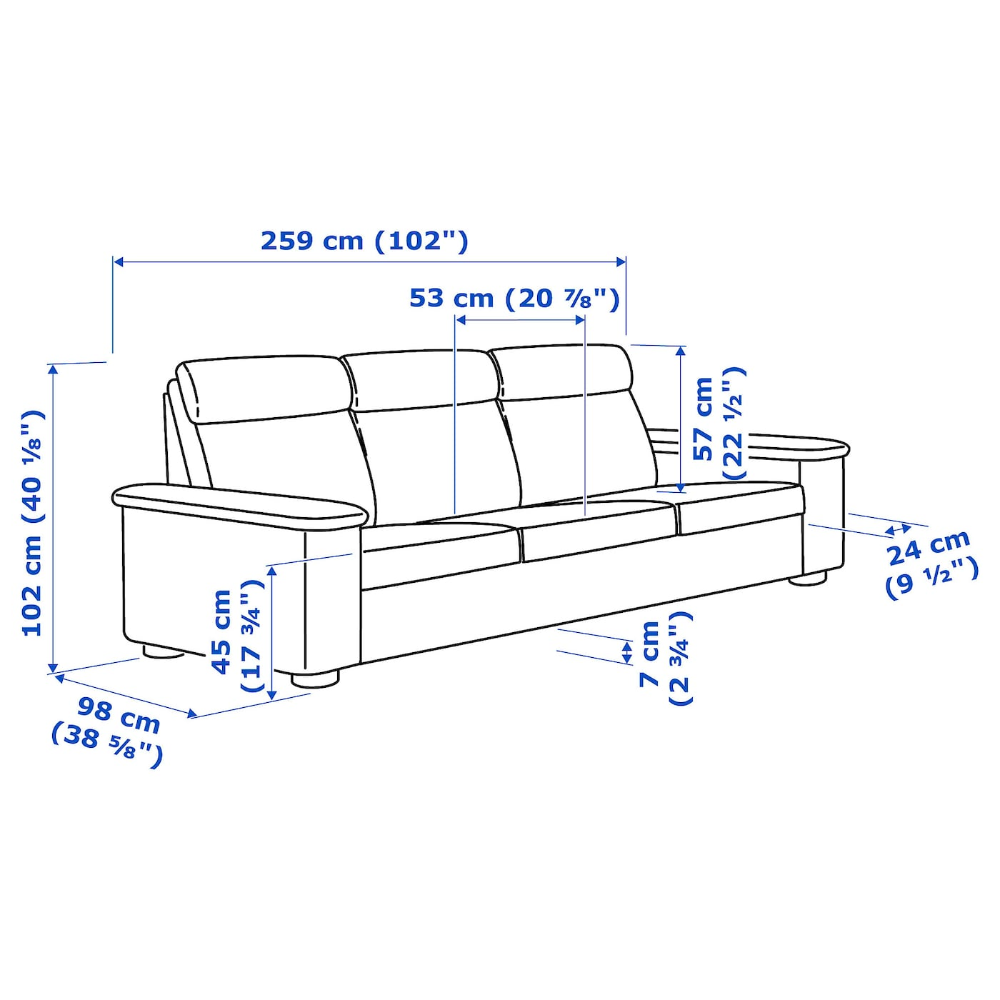 IKEA LIDHULT 3-seat sofa 10 year guarantee. Read about the terms in the guarantee brochure.