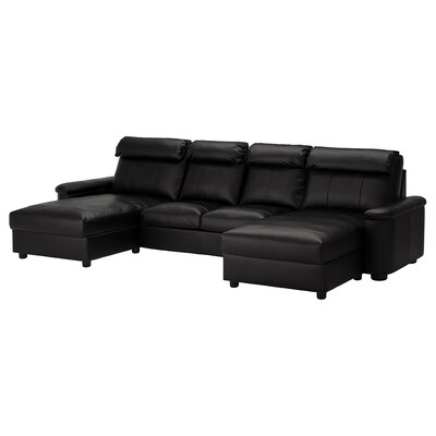 LIDHULT 4-seat sofa, with chaise longues/Grann/Bomstad black