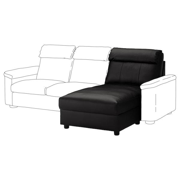 LIDHULT Chaise longue section, Grann/Bomstad black