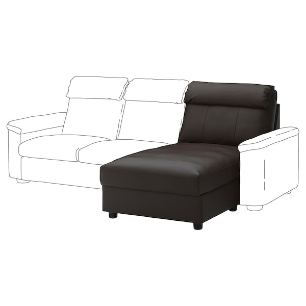 LIDHULT Chaise longue section, Grann/Bomstad dark brown
