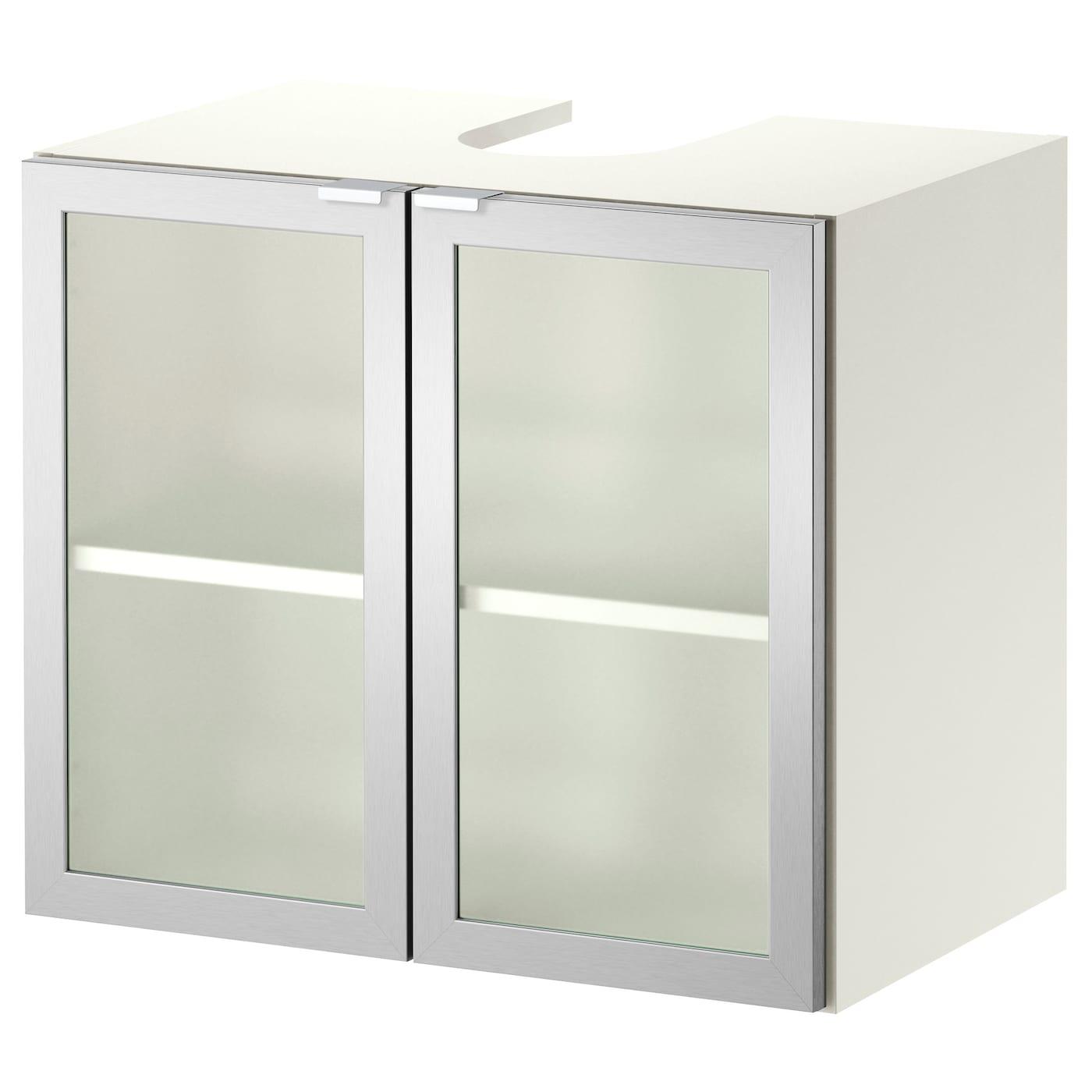 Frosted glass bathroom cabinet doors - Lillngen Washbasin Base Cabinet W 2 Doors Whitealuminium