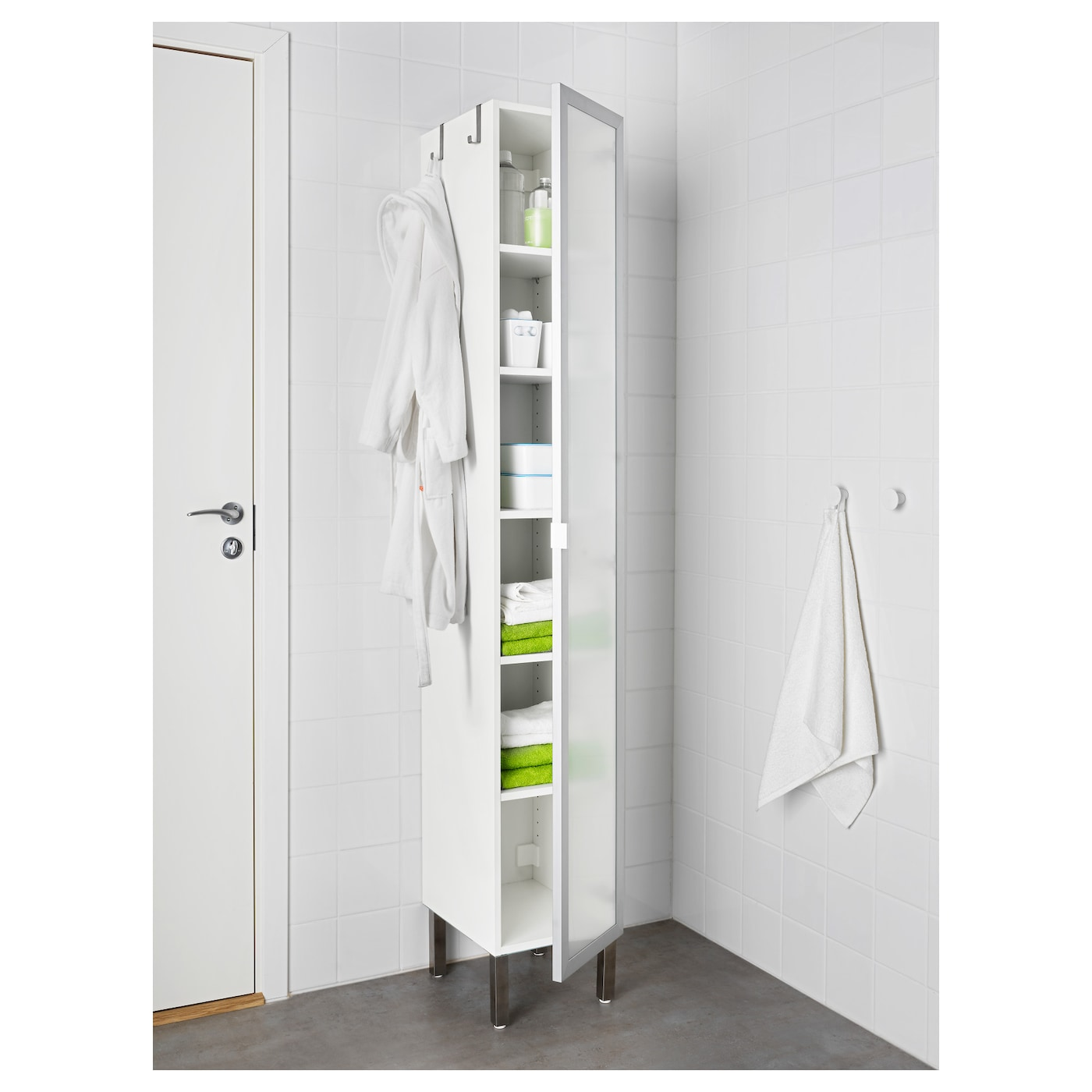 Lill ngen high cabinet with 1 door aluminium 30x38x194 cm for 1 door storage cabinet