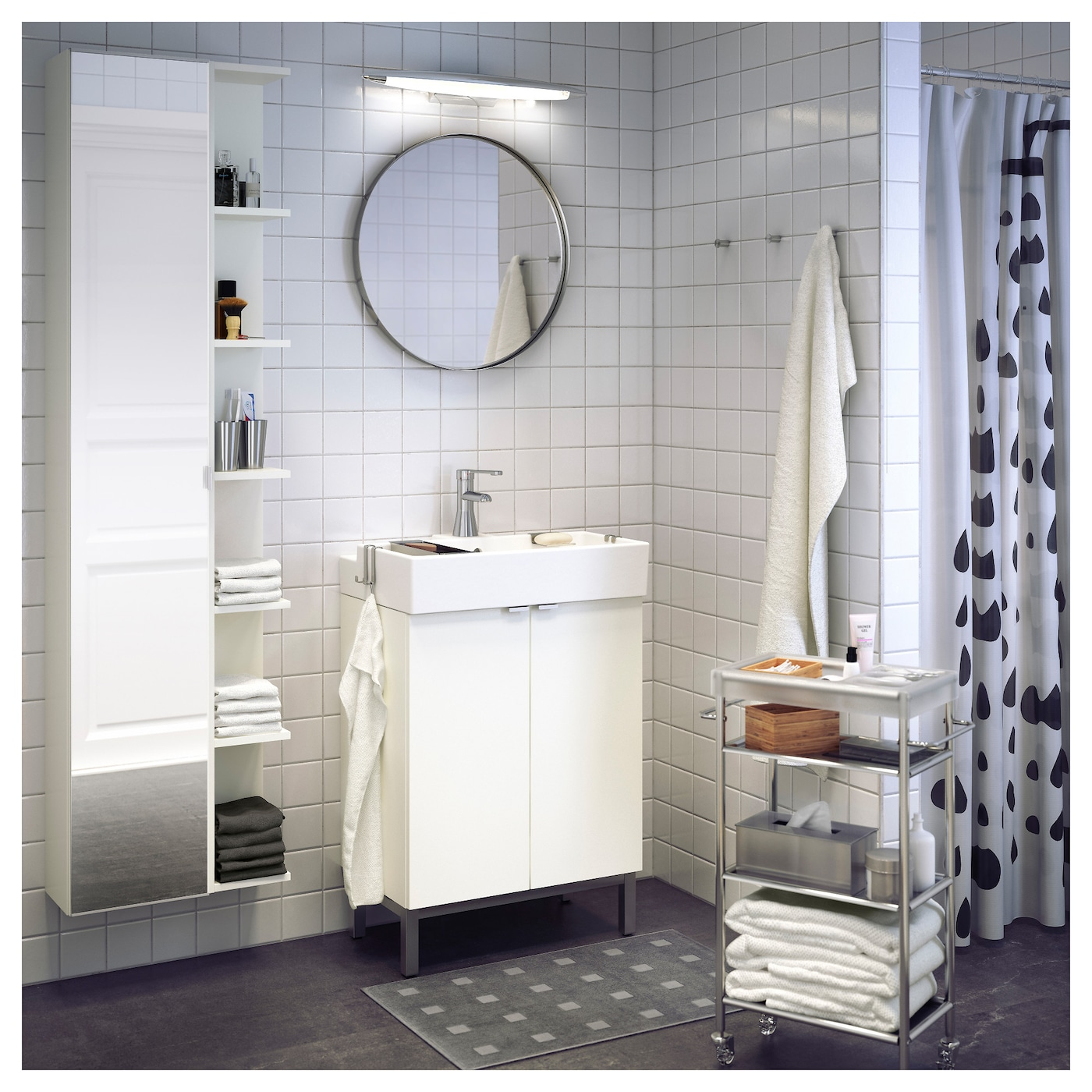 LILLÅNGEN High cabinet with mirror door White 30x21x179 cm - IKEA