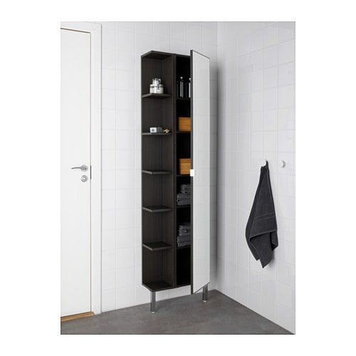 lill ngen mirror cabinet 1 door 1 end unit black brown