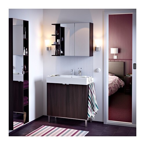 lill ngen mirror cabinet 2 doors 1 end unit black brown 80x21x64 cm ikea. Black Bedroom Furniture Sets. Home Design Ideas